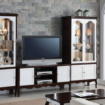 Acme 91230-32-34 3 pc Mathias white and walnut finish wood entertainment center wall unit