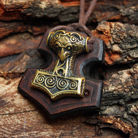 Bronze Thor's Hammer Raven Bird Mjolnir Vikings Amulet Nordic 3D Pendant Leather Talisman Necklace