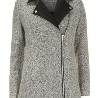 Grey mix leather look biker coat - View all Clothing Brands  - Clothing