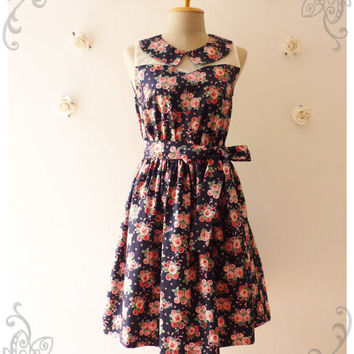 Peter Pan Collar Dress Navy with Pink Floral Dress Illusion Dress Bridesmaid Dress Romantic Summer Dress -Size L -