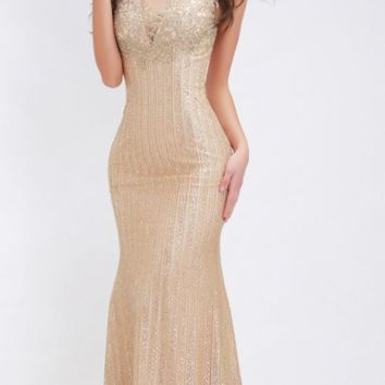 Formal Evening Dresses Mermaid Long O-neck Illusion Appliques Sequined Floor Length Prom Gown Elegant Vintage Gold