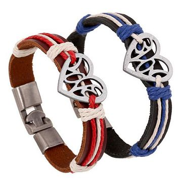 Lover Couple Hollow Love Heart Knitted Leather Bangle Alloy Cuff Buckle Bracelet  AT7M