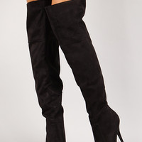 Faux Suede Platform Stiletto Thigh High Boot