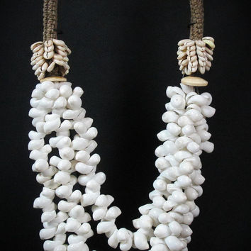 New Guinea Long Three Strand Necklace Of White Curled Shells And Small Cream Cowrie Shells and Conus Shell Disks. Papua Shell Neck Ornament