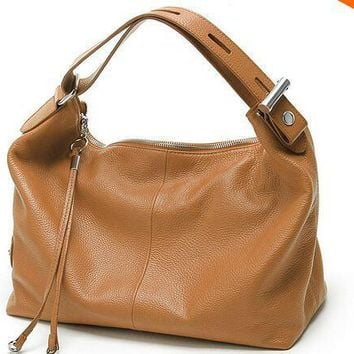 Genuine Leather Hobo Handbag