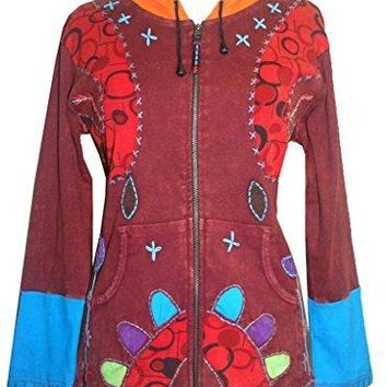 R 343 Agan Traders Rib Cotto Elf Hoodie Floral Embroidered Bohemian Jacket