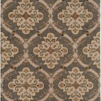 Crowne Medallion and Damasks Area Rug Gray, Brown