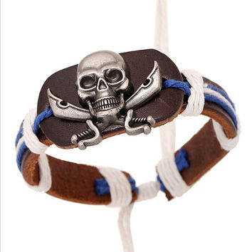 New Fashion Genuine Leather Bracelets Men Adjustable Hemp Wrap Mens Bracelet Charm Skull Bangle Vintage Punk Jewelry Wristband