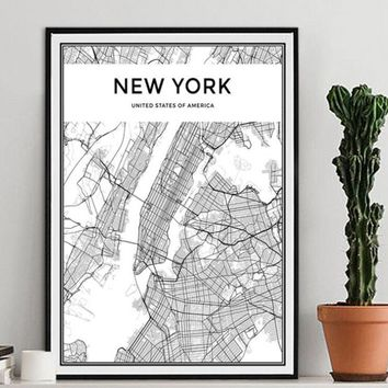 Black White World City Map Poster Nordic Living Room TOKYO HONG KONG New York MILAN Wall Art Pictures Home Decor Canvas Painting