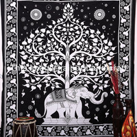 Large Elephant Tree Tapestry, Heart Print Tapestry, Tree of life tapestry, White Elephant tapestry, Bohemian Wall Hanging, Queen Bedspread