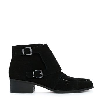 ASOS ACROSS THE BOARD Suede Monk Ankle Boots