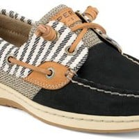 Sperry Top-Sider Bluefish Mariner Stripe 2-Eye Boat Shoe Black, Size 5.5M  Women's Shoes