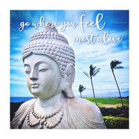 """Feel Most Alive"" Quote Hawaii White Buddha Photo Canvas Print"