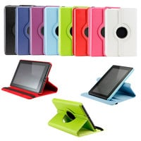 Deluxe Amazon Kindle Fire Rotating Leather Case with Swivel Stand