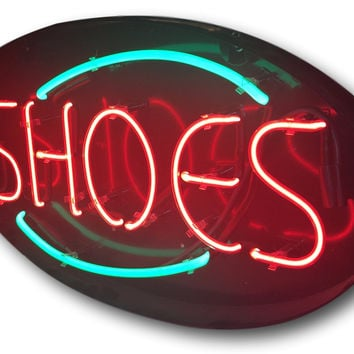 Closet Decor Ideas - Original Shoes Vintage Neon Light Sea Foam Green & Red