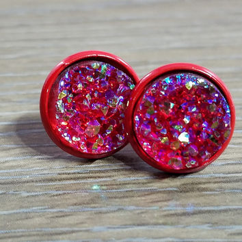 Druzy earrings- Red drusy - Red stud druzy earrings