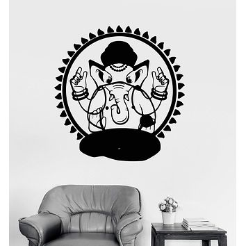 Vinyl Wall Decal Ganesha Hinduism God India Bedroom Decor Stickers Unique Gift (ig3267)