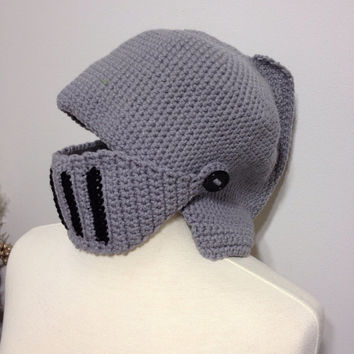 Handmade Crochet Adult or Child Knight Hat with Movable Visor - Knight in Shining Armour - King Arthur/Knights at the Round Table