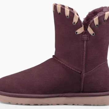 Ugg Womens Suede Mid-Calf Pull-on Whipstitch Boots