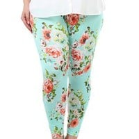 plus size vintage rose print leggings - 1000047746 - debshops.com