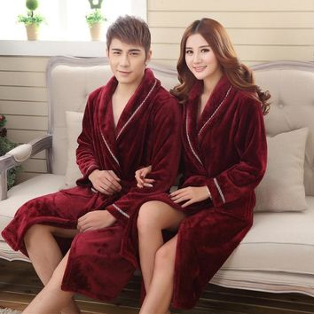 Winter Flannel Robe Lovers Thick Warm Bathrobe Kimono V-Neck Long Dressing NightGown XXL Plus Size Knitted Sold for Men Robes
