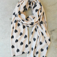 Sketched Hearts Scarf in Taupe [3325] - $21.00 : Vintage Inspired Clothing & Affordable Fall Frocks, deloom   Modern. Vintage. Crafted.