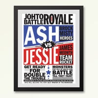 Event poster pokemon battle vintage inspired print - 11 by 14