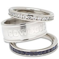 Dallas Cowboys Logo Crystal Stacked Ring Set (Size 7)