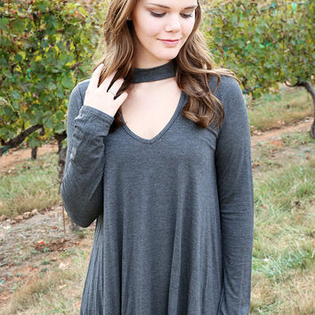 Collide Cutout Tunic, Charcoal