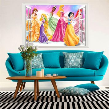 3d effect princess queen window wall stickers for kids rooms decor cartoon wall decals pvc snow girl wallpaper diy posters gift