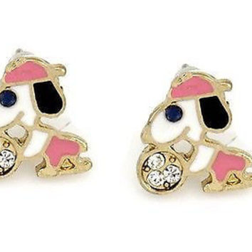 Snoopy with Pink Baseball Cap Post Earrings . NEW  Great for Girls