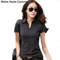 Summer Polo Shirt Women 2016 New Short Sleeve Solid Slim Polos Mujer Shirts Tops Fashion Plus Size Polo