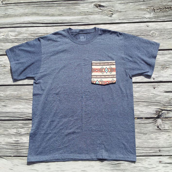 Navajo Aztec Tribal Gray Pocket Tee