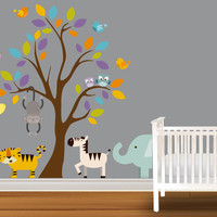 Childrens Wall Decal Safari tree decal Jungle Animals Decal Giraffe Lion Elephant Zebra Monkey Nursery Kids Playroom Vinyl Wall Sticker Baby