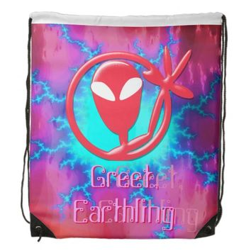 Girly Pink Greeting Alien Greet Earthling Fractal Backpack