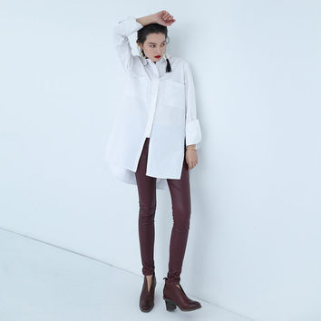 white shirt,white blouse,white top,white shirt women,boyfriend shirt,asymmetrical shirt,long sleeve shirt,long sleeve blouse.--E0808