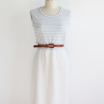 Vintage 60s White Blue Striped Knit Tennis Dress | small 4 6