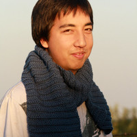 Men's Scarf: Blue Crocheted Rib Patterned