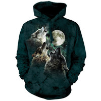 The Mountain THREE WOLF MOON HOODIE Wolves Howling Hooded Sweatshirt S-2XL NEW