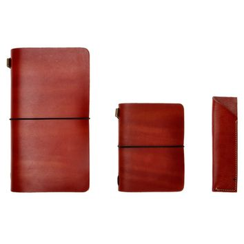 ZLYC Handmade Vegetable Tanned Leather Standard and Passport Size Travelers Journals Notebook with Pencil Case, Set of Three, Red