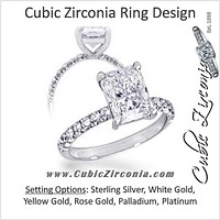Cubic Zirconia Engagement Ring- 2.0 Carat Center Radiant Cut with Accented Pave Band)