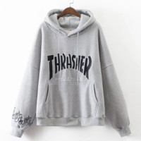 Cute Thrasher Print Loose Long Sleeve Sweater Pullover Hoodies  - Gray