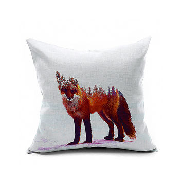 Cotton Flax Pillow Cushion Cover Animal   DW049