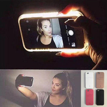 Fashion LED Light selfie Phone Case for Iphone 5 5S SE 6 6s 6 Plus 6s Plus Sumsung S6 S7 edge Case Light Selfie Led Cover 5 colors + Nice Gift Box [8776982791]
