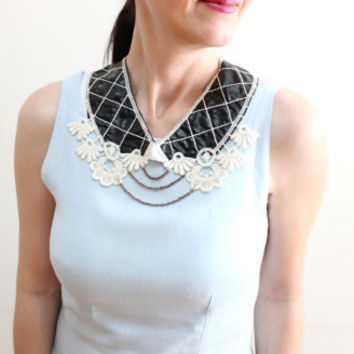 Lace collar necklace, Black Leather Peter Pan Collar, Quilted Detachable collar, Crochet and chain collar