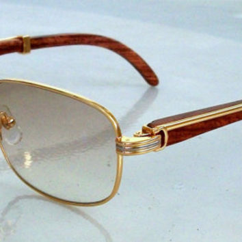 Light lens Wood arms Sunglasses Gold  Rectangular Frame for Men Inspirations with Cartier Style. Light Beige Lens.lMint, never worn