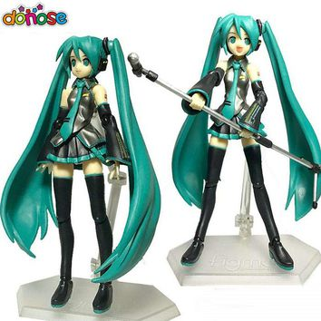 Donose New Anime VOCALOID Hatsune Miku Figma 014 PVC action figure Model Doll kids toy Free Shipping