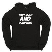 tight jean's and converse-Unisex Black Hoodie