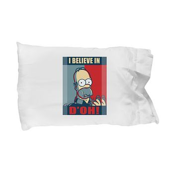 I Believe in D'Oh! Funny Cartoons Food Bedding Pillow Case