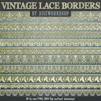 "Lace borders clip art: ""Vintage Lace borders"" clipart set with digital vintage lace border images for scrapbooking, card making, invites"